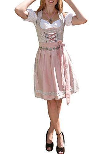 Golden Trachten-Kleid Dirndl Damen 3 TLG, Midi für Oktoberfest, mit Schürze und Bluse, 502GT (40),Grau