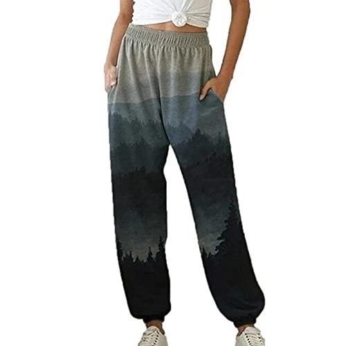 WJANYHN Pantalones Casuales para niñas Moda Pantalones Sueltos con Estampado de Paisaje