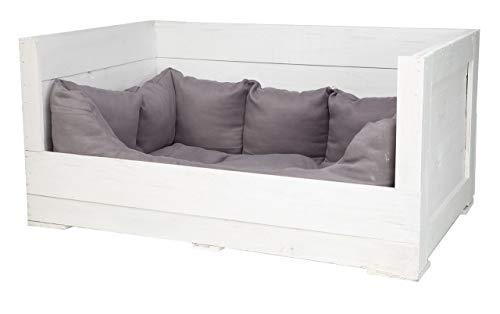 Vintage Möbel 24 GmbH 1x Tolles Hundebett aus Holz mit Polsterung (Groß_Weiß)