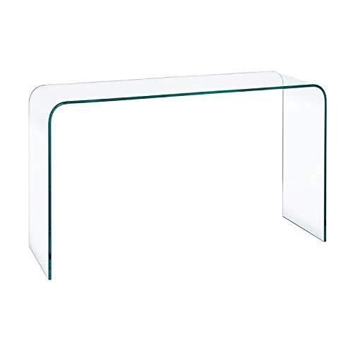 Tavolo da salotto e soggiorno in Vetro Temperato , Tavolo Consolle Luxury Z-06 , Design curvo e Moderno , 110 x 80 x 40 , Vetro temperato trasparente