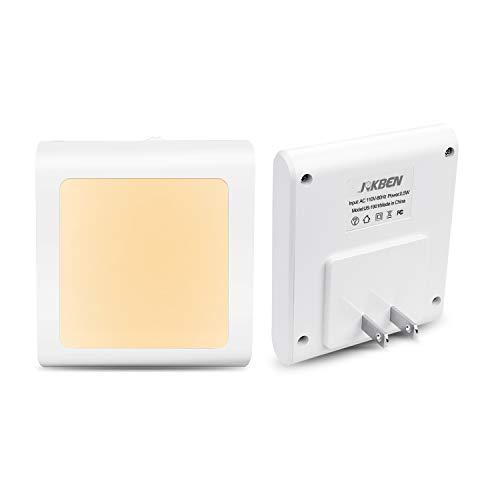 足元灯 明暗センサー JOKBEN LEDライト 明るさ調節可 常夜灯 眩しくない光 コンセント 寝室 廊下 洗面所 電球色 2個セット
