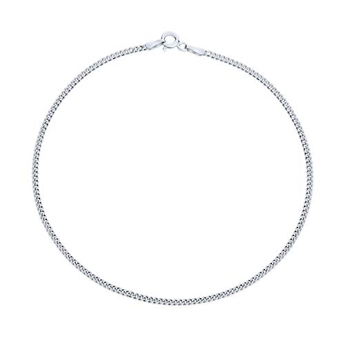 Simple Strong 50 Gauge Cuban Curb Chain Anklet For Teen Ankle Bracelet For Women 925 Sterling Silver 9 Inch