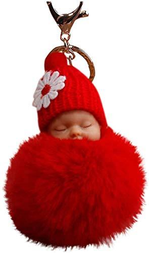 FENGLI - Llaveros de piel esponjosa, diseño de pompón para dormir, para bebé, llaveros, bolsos, colgantes, mochilas, bolsa de mano, colgante y cadena mullida, color rojo