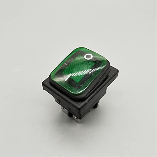 DLRSET Boton Interruptor Rocker, PC 1 KCD4 20A / 250V 4 Alfiler DPST IP67 Interruptor de rockero Impermeable Sellado con LED 12V 24V 110V 220V 3 0x22 (Color : Green, Size : 4 Pin)