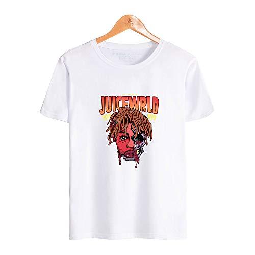 SHINEE Mans Juice WRLD T-Shirts Schädel Poster Neuheit Grafik Kurzarm T-Shirts,Weiß,L