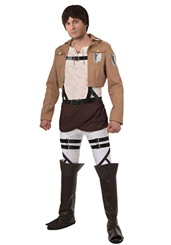 Adult Attack on Titan Eren Yeager Costume Scout Regiment Anime Cosplay Outfit for Men X-Large Brown