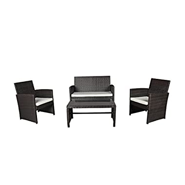 Modern Outdoor Garden, Patio 4 Piece Seat - Wicker Sofa Furniture Set (Brown)