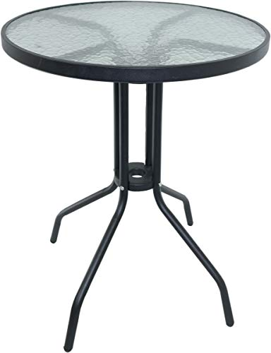 Black Metal Frame Bistro Table with Glass Tabletop Outdoor Dining Furniture