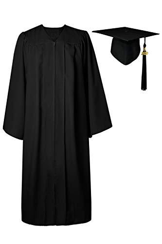 GraduatePro Abschluss Talar Doktorhut und Quaste 2020 für Hochschule und Bachelor Akademischer Schwarz