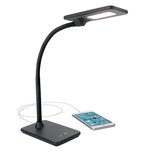 Newhouse Lighting NHDKZLBK Zlata LED Desk Lamp with USB Charger Touch Dimming and Color Change for Office Use Black