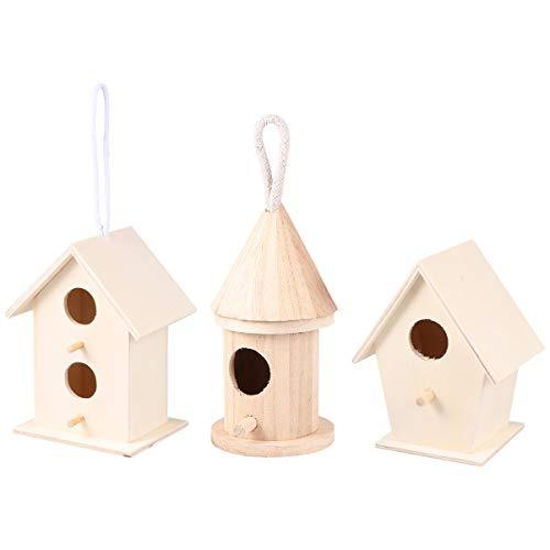 Hakka 3 Stks Vogelhuisjes voor Buiten Hangende Vogels Bed Hangende Vogels Huis Kooi Accessoires Tuin Decoratie voor Tuin Home Room