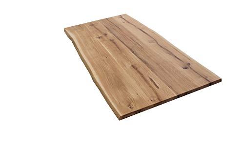 meine-tischplatte Massivholzplatte Eiche massiv Baumkante geölt Wildeiche auf Mass (90x140 cm)
