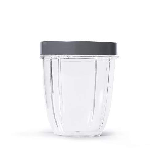NutriBullet Kurzer Becher mit Standard-Lippenring, 510 ml, transparent/grau