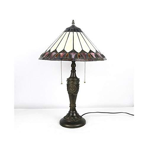 Estilo 2 Luz Tradicional Misión Acento Lámpara Mesa Metálica Metálica Arte Antiguo Sombra de Vidrio Amplio Lámparas de 16 Pulgadas para Dormitorios Lámpara de Noche