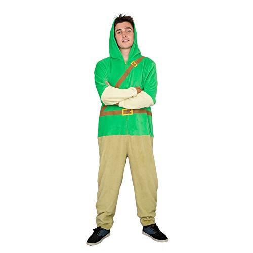 Adult Zip up The Legend of Zelda Link Green Costume Jumpsuit (Adult Large)