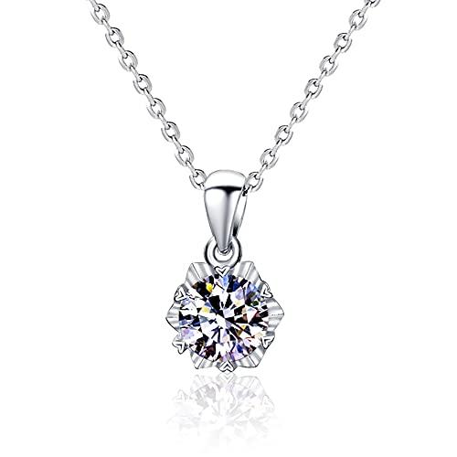 Yope RI - Collar con colgante de diamante de primera calidad de 1 quilate, con diamante real certificado GIA de seis puntas, colgante de oro blanco de 18 quilates (certificado GIA D/VVS1)