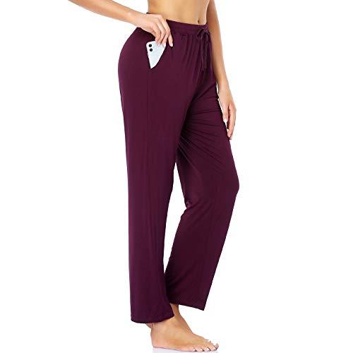 ROCHVIE Women's Lounge Yoga Pants Drawstring Loose Yoga Workout Sweatpants Comfy Lounge Joggers Pants with Pockets Casual Pajamas Pants Burgundy Red L