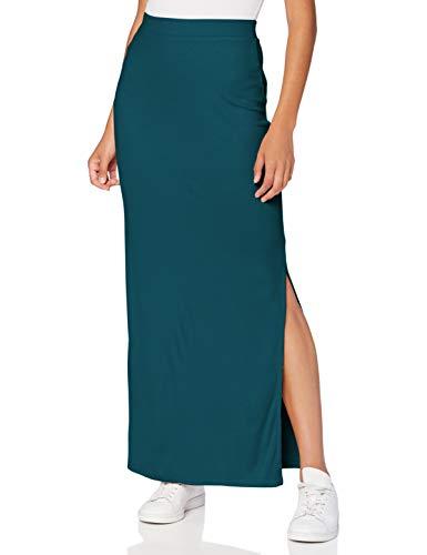 Amazon-Marke: MERAKI Damen Slim Fit Maxi-Rock mit Feinripp, Grün (Blaugrün), 44, Label: XXL