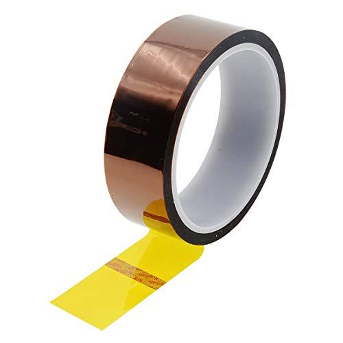 Uotyle 1 Rollen Kapton Tape Hitzebeständiges Tape Hochtemperatur Isolierband polyimid Elektronik Klebeband 3D Drucker Isolierband(30mm x 33m,Tawny)