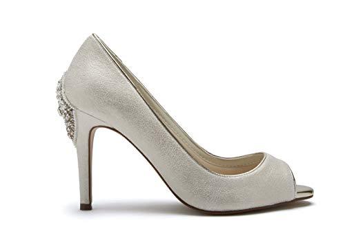 Zapatos de novia Rainbow Club Natala, zapatos de mujer Stiletto Ivory Champán, color Marfil, talla 36 EU