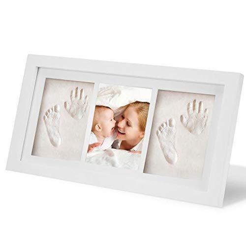 WJH&ZMB Schönes Baby Handprint Kit & Fußabdruck-Fotorahmen für Neugeborene Mädchen und Jungen, Massivholz-Fotorahmen