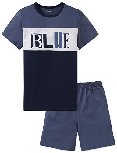 Schiesser Jungen Anzug Kurz Zweiteiliger Schlafanzug, Blau (Jeansblau 816), 152