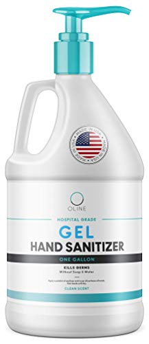 Advanced Hand Sanitizer Gel, 1 Gallon, 128 Fl Oz, 70+% Alcohol, Large Bulk Antibacterial Hand Gel Refill, Made in USA (1 Gallon + Pump)