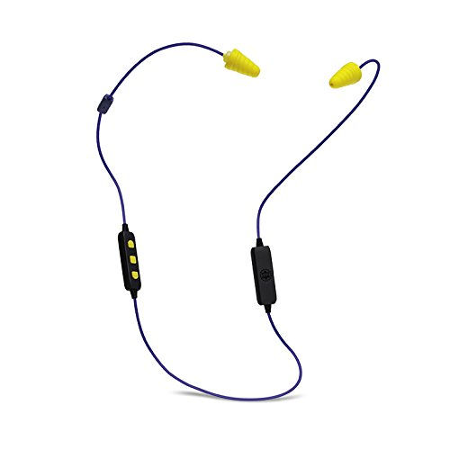 Plugfones Liberate 2.0 Wireless Bluetooth In-Ear Earplug Earbuds- Noise Reduction Headphones with Noise Isolating Mic and Controls (Blue & Yellow)