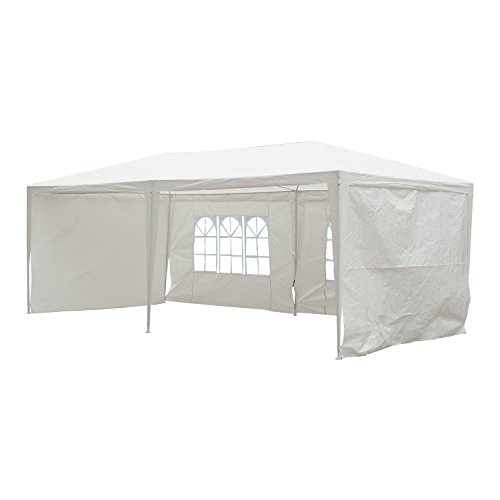 LIVIVO 6m x 3m Outdoor Party Gazebo Beer Tent with Waterproof Canopy and Detachable Side Panels and Windows with 6 Securing Pull Ropes and 12 Ground Pegs (White)