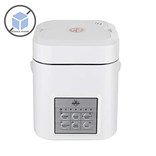 Berryku YF223 1.2L De-Sugar Mini Rice Cooker, Low Starch Cooking, Soup Cooker, Congee Cooker, Steamer, Warmer, Preset Timer, Best Fit for Diabetes, Hypertension, Obesity, Physical Fitness, 1~2 People