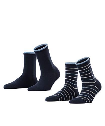 ESPRIT Damen Easy Stripe 2-Pack W SO Hausschuh-Socken, Blau (Marine 6120), 35-38 (2er Pack)