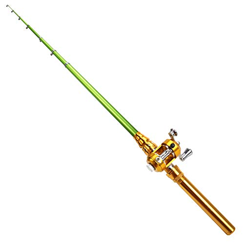 MultiOutools Fishing Rod and Reel Combos Mini Portable Pocket Aluminum Alloy Fishing Pole for Ice Fly Fishing Sea Saltwater Freshwater,Gift for Festivals (Golden)