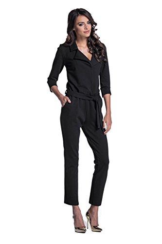 Lemoniade eleganter Jumpsuit mit 3/4-Ärmel, elegantem Kragen und ausgefallener Schnürung an der Hüfte (M (38), Modell 2 Schwarz)