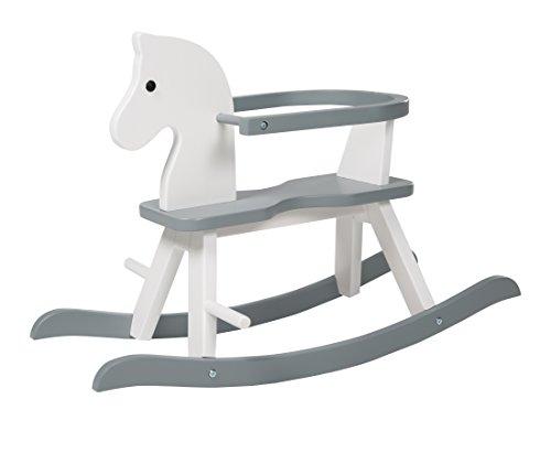 roba Schaukelpferd, Schaukeltier Massivholz, weiß, grau, Schaukelstuhl mitwachsend für Babys und Kleinkinder durch abnehmbaren Schutzring, ab 1 Jahr