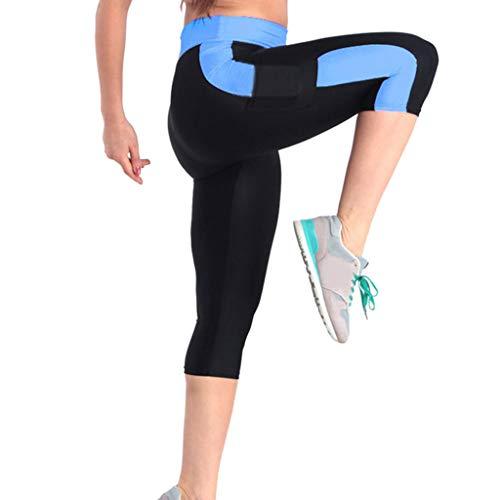 CAOQAO Caprihose Printed Trageangenehme Sporthose Damen Hohe Taille Bauch Kontrolle Yoga ÜBung Capris Leggings Seitentaschen