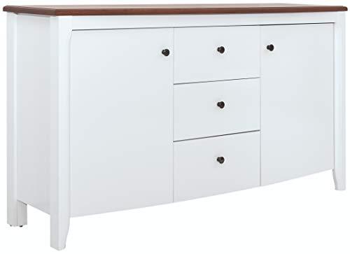 Boardd, credenza autoportante per buffet, con 2 ante e 3 cassetti, colore bianco lucido, colore: Acacia/Bianco lucido, 163 x 91 x 41,5 cm