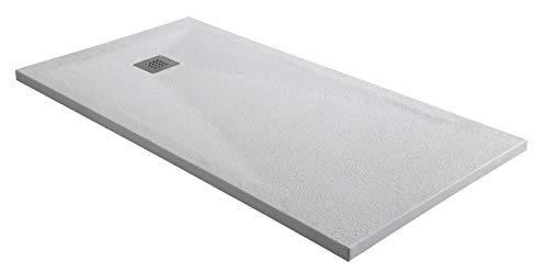 Plato de ducha de mármol de 2,7 cm de grosor de color blanco.