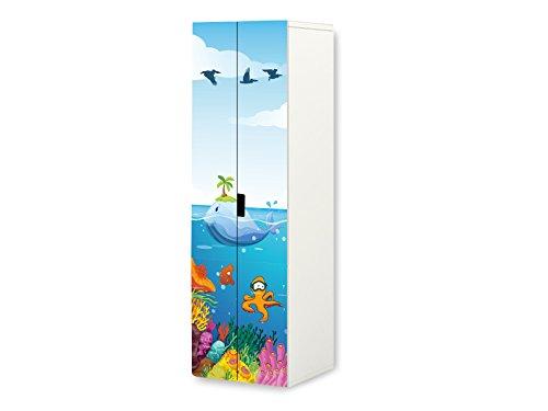 Mundo subacuático pegatinas | SKL03 | adecuado para el armario STUVA de STIKKIPIX | a la medida del mueble ( Corpus 60 x 192 cm) | (mueble no incluido) STIKKIPIX