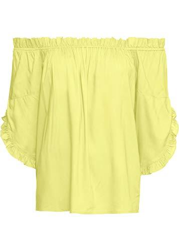 bonprix Traumhafte Carmen-Bluse mit verspielten Ärmelvolants helllimone 38 für Damen