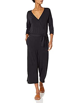 Amazon Brand - Daily Ritual Women's Supersoft Terry Elbow-Sleeve Overlap Jumpsuit, Black, Medium