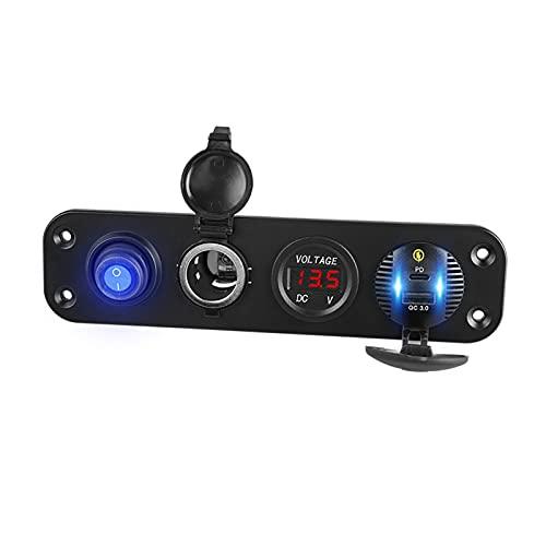 MeiKeL 36W Coche rápido 12V USB Voltímetro Voltímetro Impermeable Panel Montaje Socket Adaptador de automóvil Cigarro Encendedor encendedor de enchufe para teléfono ( Color Name : No Lighter(Red) )