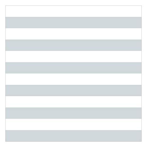 Tapete selbstklebend - Querstreifen Grau Weiß Quadrat 192x192 cm