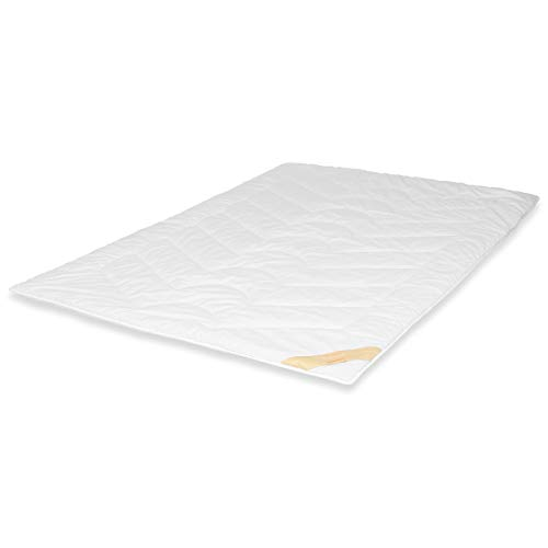 Traumschloss Lambswool Duo Bettdecke mit Reiner Schurwolle gefüllt - Bezug aus 100% Baumwolle mit Seidenprotein veredelt - 135 x 200 cm