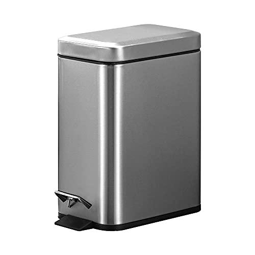 JANCANT 5L Cubo de Basura de Reiclage Pequeño Papelera Acerp Inoxidable Cocina Oficina con Tapa con Pedal Pepelera Basura Color de Plata