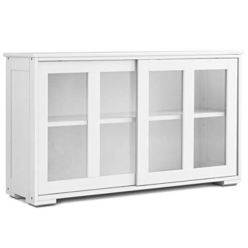 GOPLUS Sideboard, Küchenschrank Farbewahl, Anrichte-Schrank, Badkommode, Beistellschrank, Standschrank, Mehrzweckschrank mit Schiebetüren (Weiß)