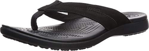Crocs Herren Santa Cruz Leather Flip M Dusch-& Badeschuhe, Schwarz (Black/Black 060b), 42/43 EU
