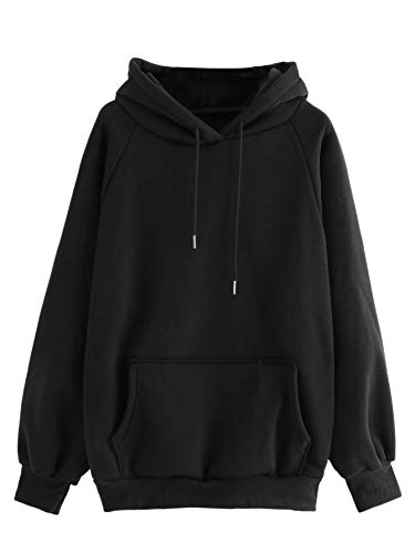 DIDK Femme Sweat-Shirt Pull A Capuche avec Poche Kangourou Manches Longues Grand Taille Casual pour Sport Automne Pullover Jumper Hoodie Sweat Noir-S