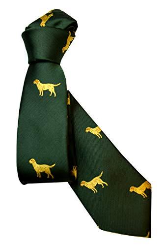 Krawatte GauLand mit Hund, Golden Retriver, Originalfarbe Grün, Schmutzabweisend ausgerüstet, HANDGENÄHT