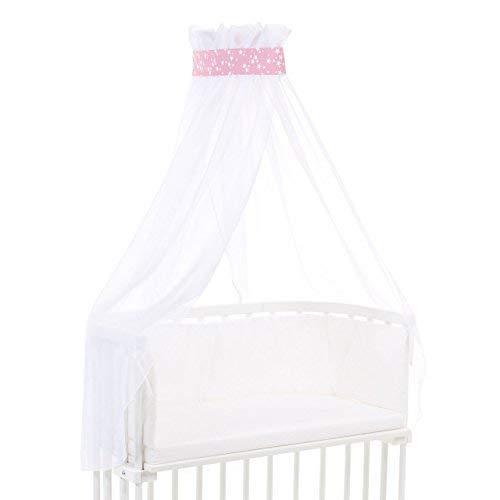 babybay Ciel de Lit en Piqué avec Ruban Convient pour Tous Modèles Framboise avec Étoiles Blanc 1 Unité