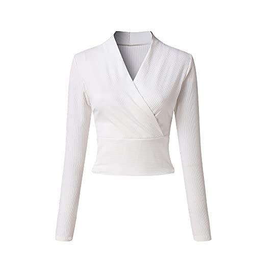 Mujer Deep V-cuello manga larga camisetas camisa básica mujer